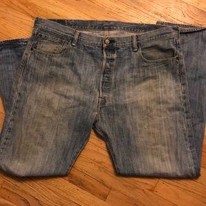 2/$14 Men's Levi Strauss 501 jeans in light blue.